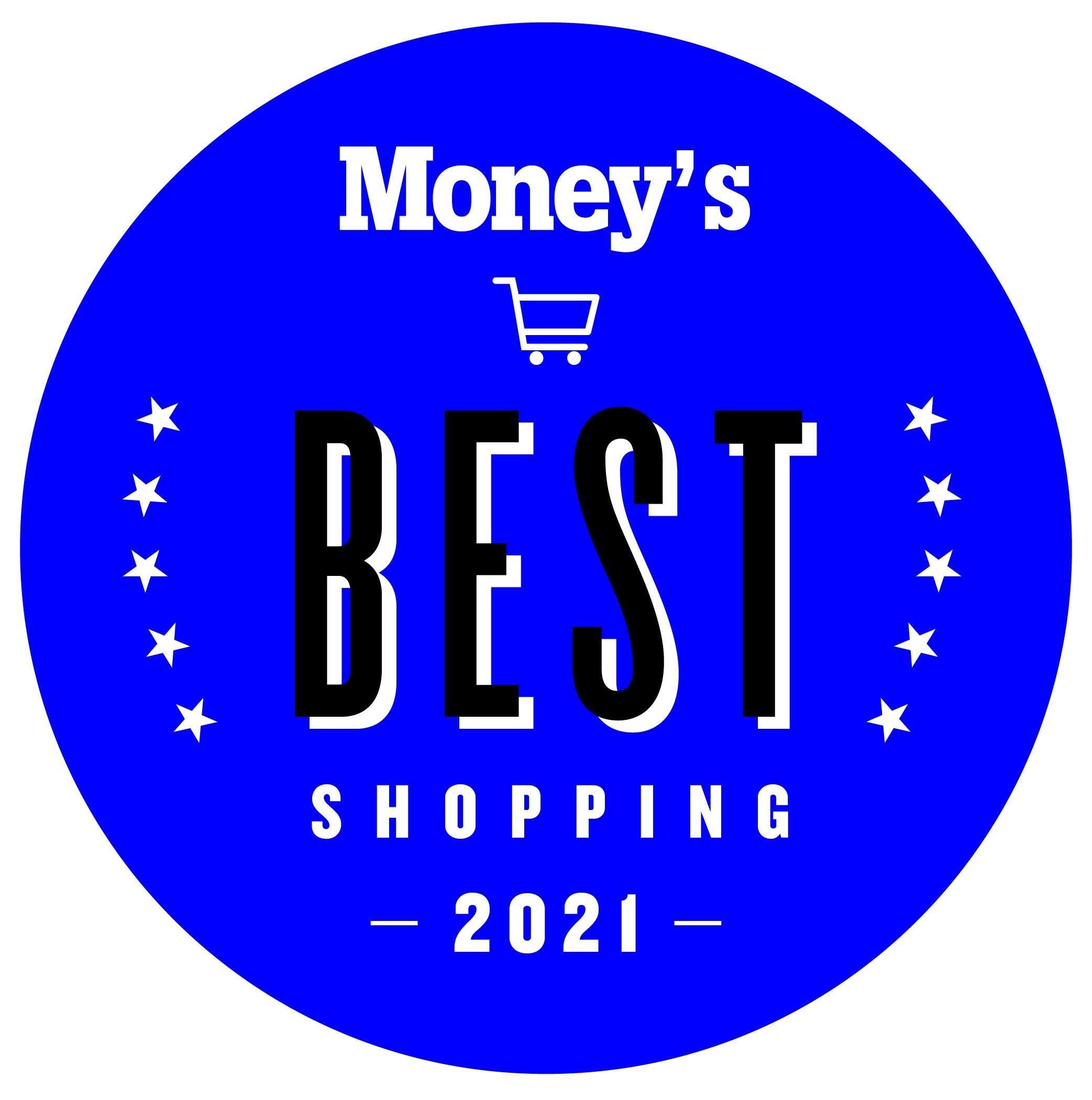Huy hiệu Mua sắm Tốt nhất của Money năm 2021 màu xanh lam, giỏ hàng trong vòng tròn với các ngôi sao bên trái và bên phải.